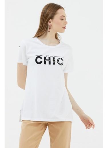 Sementa Nakış Detaylı Yanları Yırtmaçlı Tshirt - Beyaz Beyaz